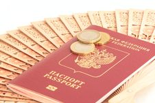 Free A Russian Foreign Passport With Euro Coins Stock Photography - 18481842
