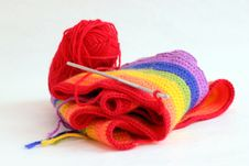 Free Knitting A Colorful Scarf Royalty Free Stock Photos - 18481978