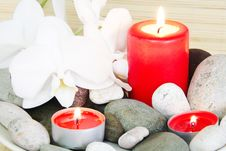 Spa Still Life Of Stones, Candles And Orchids Stock Images
