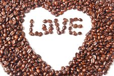 Free Heart From Brown Coffee Beans And Word Of Love Stock Photography - 18483212