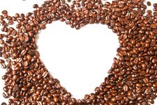 Heart From Brown Coffee Beans Stock Photography