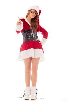 Free Pointing Santa Girl Stock Photos - 18483613