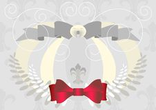 Light Banner With A Lily And A Red Bow. Banner.Bac Royalty Free Stock Photography