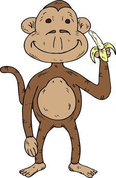 Free Cartoon Monkey With A Banana Royalty Free Stock Photo - 18484425