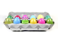 Plastic Easter Eggs In Carton Royalty Free Stock Photography