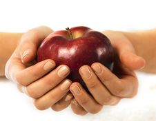 Free Fresh Red Apple In A Woman Hand Royalty Free Stock Photos - 18487028