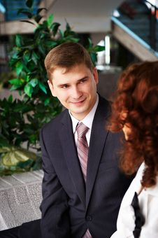Free Man In Business Suit Looks At Woman Gently Royalty Free Stock Photo - 18488465