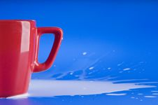 Free Part Of Red Big Cup With Milk Stock Image - 18488781
