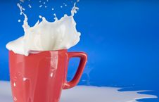 Free Milk Splash Out Of Red Cup Stock Photography - 18488782