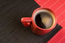 Free Black Coffee Drink  In A Red Cup Royalty Free Stock Image - 18488876