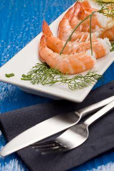 Free Prawns Appetizer Stock Photo - 18489270