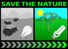 Save The Nature Lightbulb Stock Photography