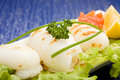 Free Squid With Lettuce On Blue Glasstable Royalty Free Stock Image - 18490016