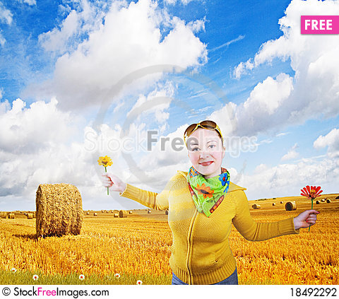 Free Happy Girl On A Field Stock Photography - 18492292