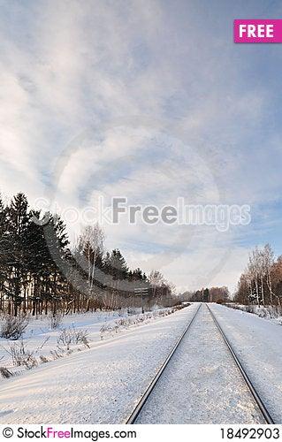 Free Railway Winter. Stock Photos - 18492903
