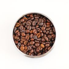 Free Coffee Beans In Round Metallic Plate Stock Photos - 18490683