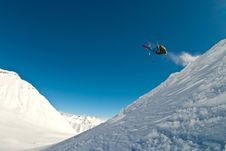 Skier Flying In The Air Royalty Free Stock Photos