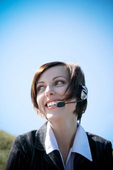 Free Young Caucasian Business Lady With Microphone Stock Photo - 18491250