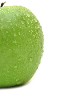 Free Wet Green Apple Closeup Stock Image - 18492101