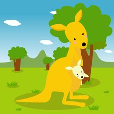 Free Kangaroo And Its Baby Royalty Free Stock Photo - 18492135