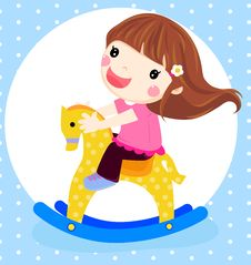 Free A Dolly Girl On Rocking Horse Royalty Free Stock Photo - 18492165