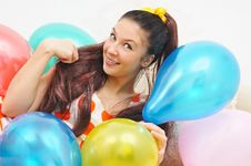 Free Girl Smile A Happy Smile With Balloons Royalty Free Stock Image - 18492226