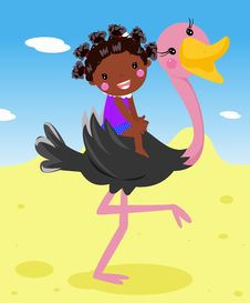 Free Girl And Ostrich Stock Photos - 18492543