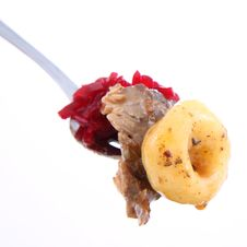 Free Meat, Dumpling And Beats On A Fork Stock Photos - 18492573