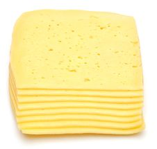 Stack Of Thin Cheese Pieces Stock Photo