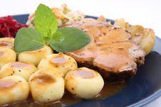 Pork Steak And Dumplings Royalty Free Stock Photos