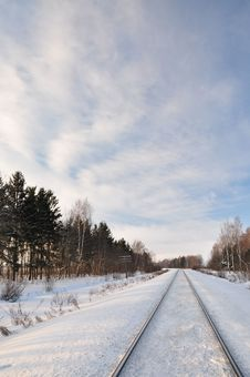 Free Railway Winter. Stock Photos - 18492903