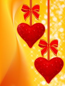 Free Holiday Background With Two Hearts Stock Photo - 18493530