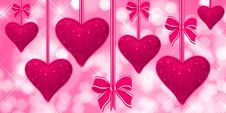 Free Pink Hearts Hanging With Bows Stock Photos - 18493673