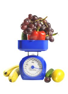Free Fruit And Vegetables On Scales Stock Photo - 18493960