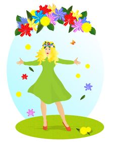 Free Lady Spring, Cdr Vector Stock Photography - 18493972