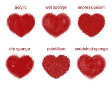 Free Painted Hearts Set. Royalty Free Stock Photos - 18498998