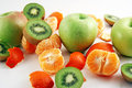 Free Peeled Mandarin, Apples And Kiwies Royalty Free Stock Photography - 1858037