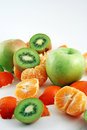 Free Peeled Mandarin, Apples And Kiwies Royalty Free Stock Photo - 1858045