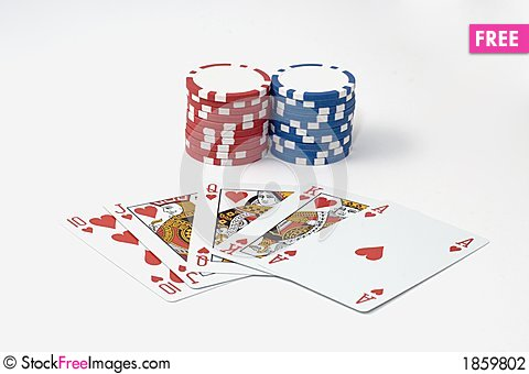 Royal flush 7 chips poker game Stock Photo