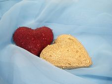 Free Red And Golden Hearts On A Blue Background Stock Photos - 1852453