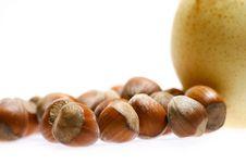 Free Hazelnuts And Pear Royalty Free Stock Photo - 1853225