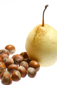 Free Hazelnuts And Pear Royalty Free Stock Image - 1853226