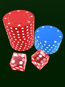 Free Red Dice And Jetons Stock Photography - 1854312