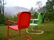 Free Vintage Chairs & Mountain View Stock Photography - 1854352