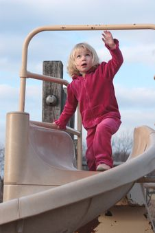 Free Toddler Playing On Slide Royalty Free Stock Photo - 1854745