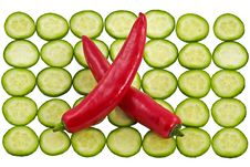 Free Hot Cayenne Pepper And  Cucumber Stock Images - 1856944