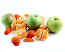 Free Peeled Mandarin And Apples Stock Photography - 1858012