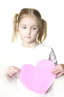 Free Little Girl With Valentine Stock Images - 1858314