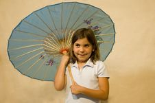 Girl With Parasol Royalty Free Stock Images