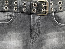 Black Jeans, Black Leather Belt Stock Photography